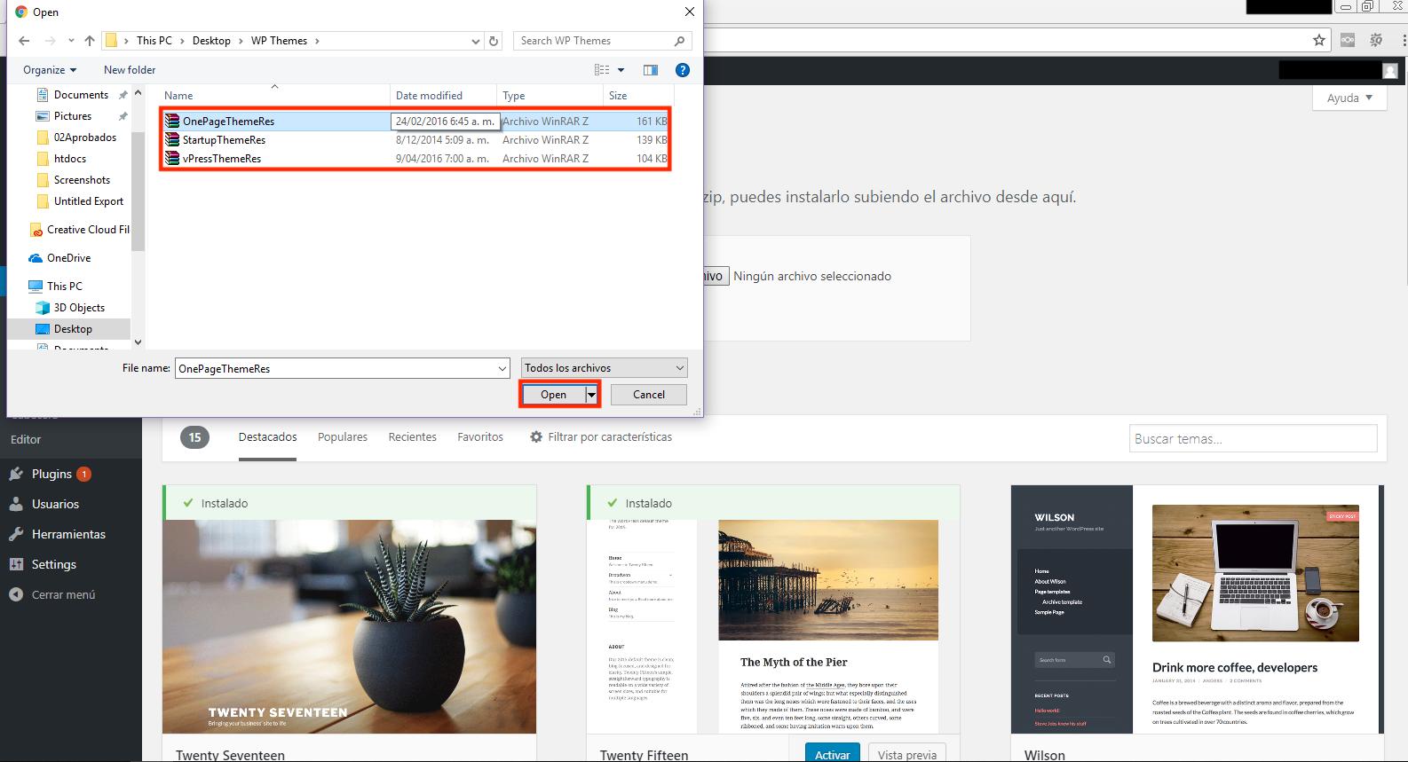 como instalar temas en WordPress